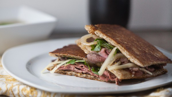 Roast Beef, Caramelized Onion + Gruyere Panini 1