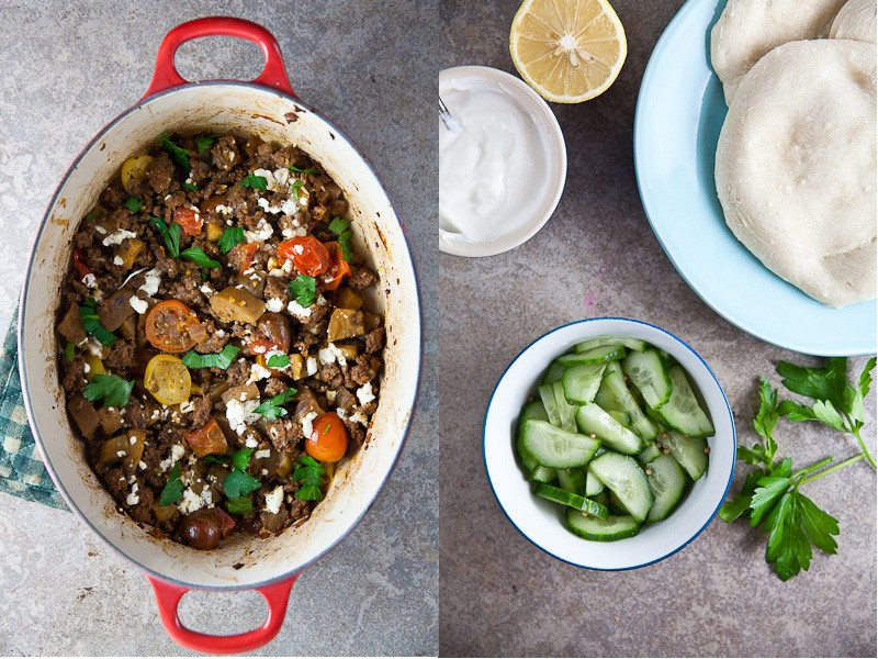 braised eggplant with ground lamb diptych