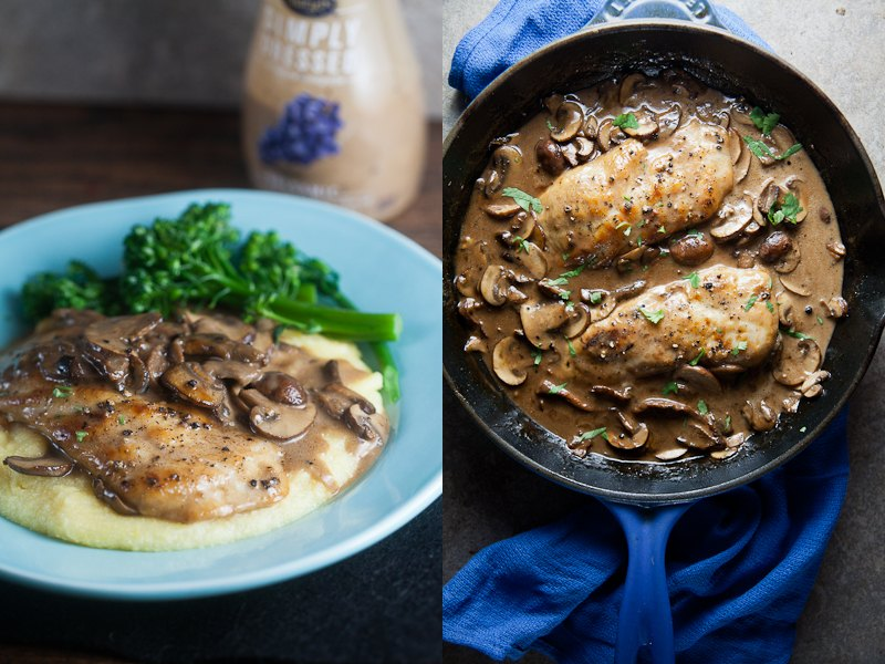 simply dressed balsamic chicken and mushroom