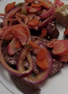 Skirt Steak with Warm Radish and Onion Pickle