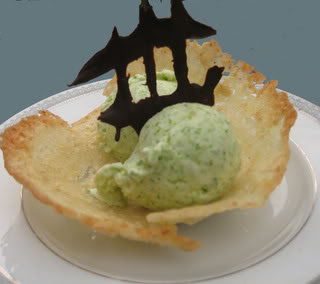 Asparagus Ice Cream in an Almond-Lemongrass Cookie Cup