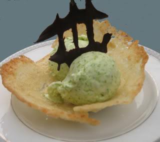 Asparagus Ice Cream in an Almond-Lemongrass Cookie Cup
