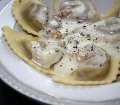 Wild Mushroom Agnolotti with Gorgonzola Fondue