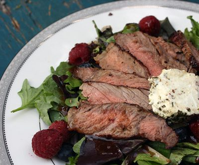 Summertime Salad: Steak, Berries and Goat Cheese with Apricot-Balsamic Vinaigrette