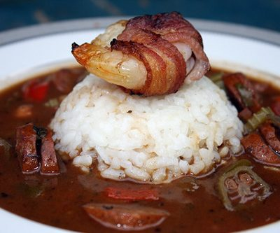 Spicy Gumbo with Andouille and Bacon Wrapped Shrimp