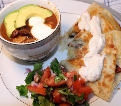 Chorizo Quesadillas with Chipotle Sour Cream
