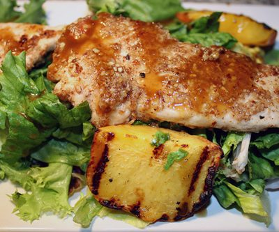 Pecan Chicken Salad with Grilled Peaches