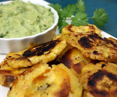 Tostones with Green Sauce