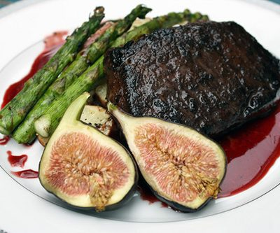 Cocoa-Coffee Bison with Pomegranite Syrup and Fresh Fig
