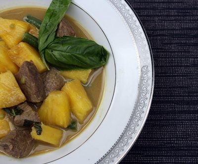 Green Curry Beef with Pineapple, Coconut Rice