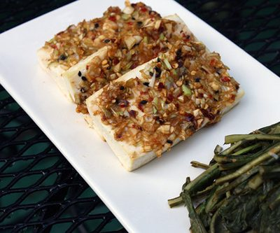 Meat-Free Friday: Korean Baked Tofu and Spicy Dandelion Greens