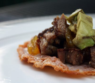 Braised Lamb Tostadas on Manchego Cheese Shells