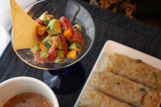 tuna tartar and spring rolls