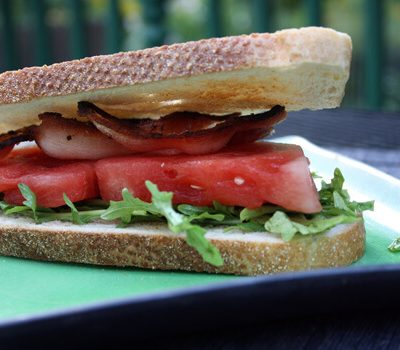 Watermelon-Bacon Sandwiches, Homemade Chips and Dip