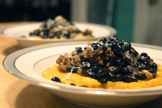 Pumpkin Polenta with Chorizo and Beans | Healthy. Delicious.