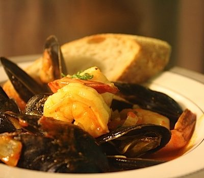 Seafood Cioppino with Saffron and Fire Roasted Tomato Sauce