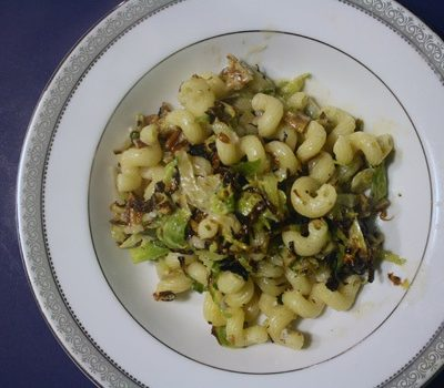 Pasta with Brussels Sprouts, Pecans, and Gorgonzola Cream Sauce