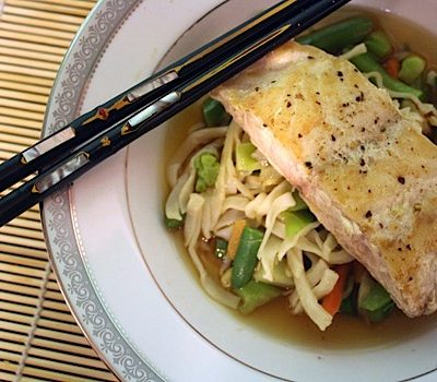 Snapper in Ginger-Citrus Broth with Asian Vegetables