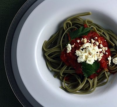 Spaghetti with Feta and Capers