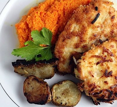 Coconut Chicken with Roasted Carrot-Ginger Puree