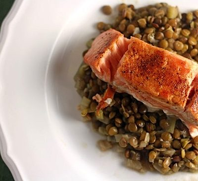 Salmon with Carmelized Lemon Glaze over Lentils
