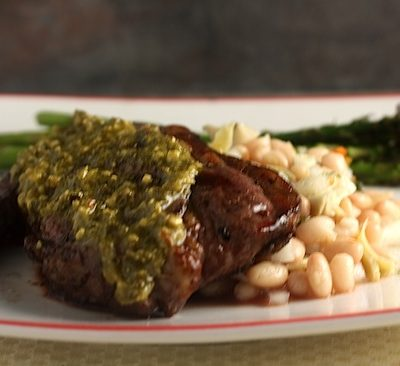 White Bean Salad, Grilled Lamb with Pesto