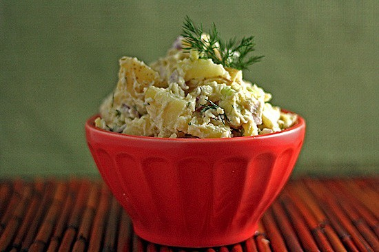 big bowl of potato salad without mayo