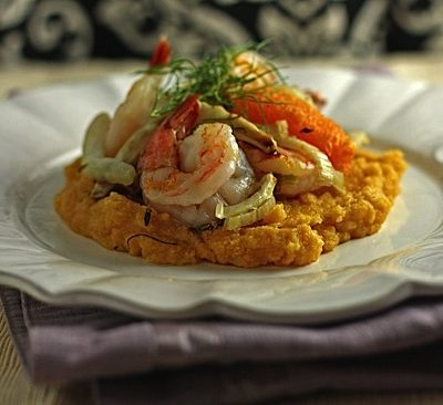 Roasted Shrimp with Orange and Fennel over Polenta