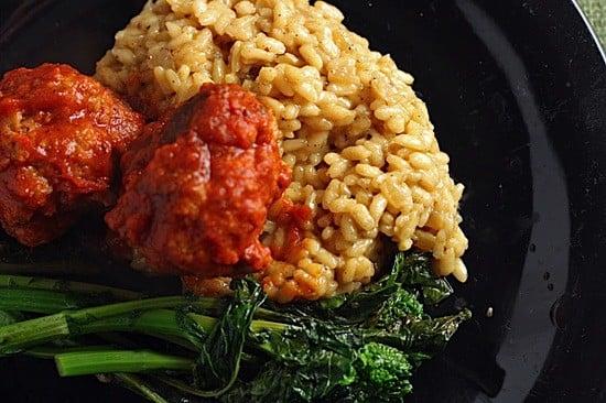spicy pork meatballs with parmasean risotto.jpg