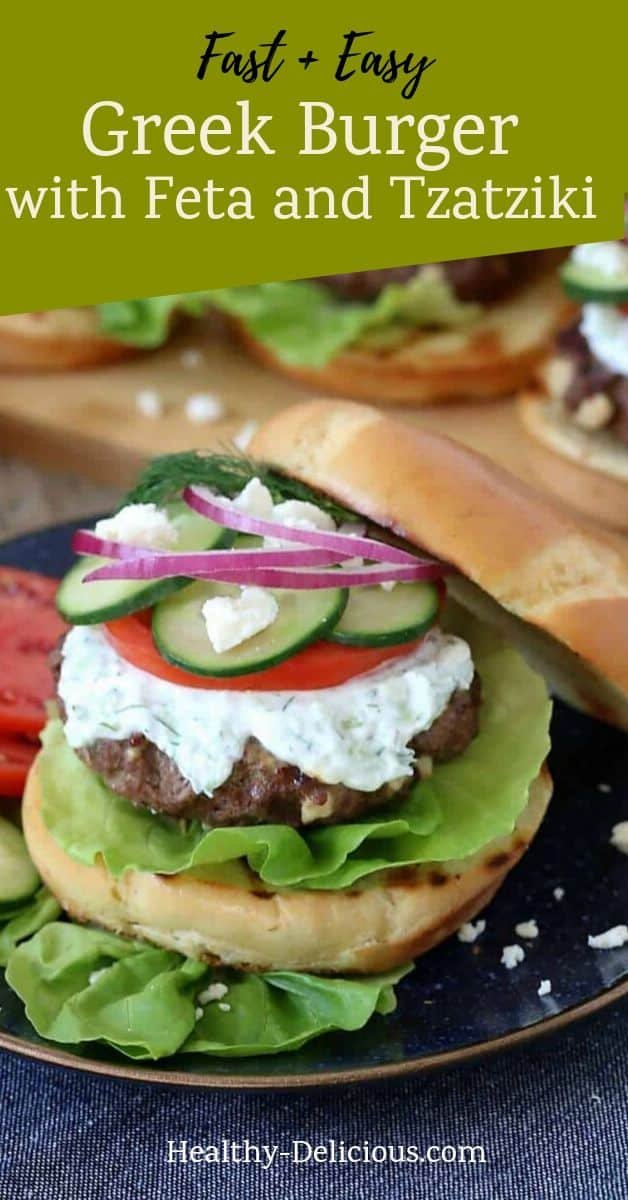 Homemade burgers with feta cheese and homemade tzatziki sauce make the perfect Greek burger recipe. This truly is the best homemade burger recipe!