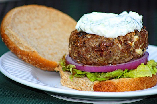 Greek Burger with Feta and TzatzikiHealthy. Delicious.