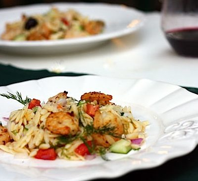 Orzo Salad with Shrimp, Feta, and Olives