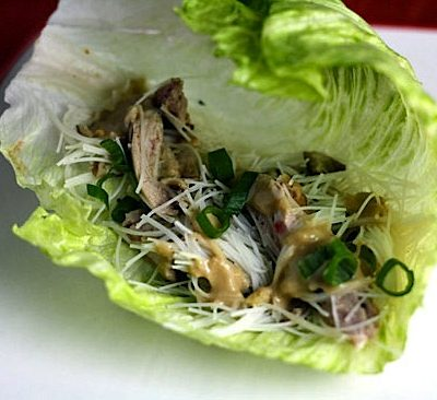 Duck and Shitake Lettuce Wraps with Cashew Sauce