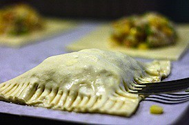 Baked Crab and Corn Empanadas with Roasted Poblano Sauce