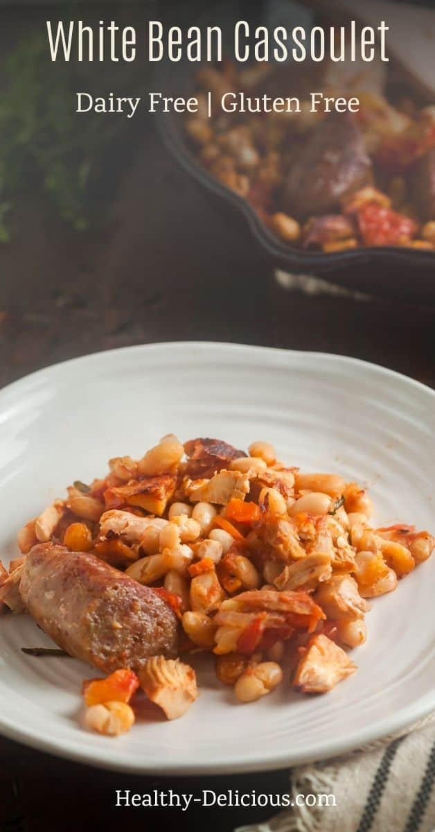 This shortcut cassoulet recipe made with turkey, sausage, and white beans is chock-full of traditional French flavor. This quick and easy recipe is gluten-free and dairy-free! via @HealthyDelish