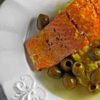 Roast Steelhead with Citrus & Olives over Saffron Risotto