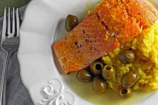 Roast Steelhead with Citrus & Olives over Saffron Risotto 1