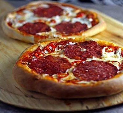 Salami and Chili Pepper Pizzas