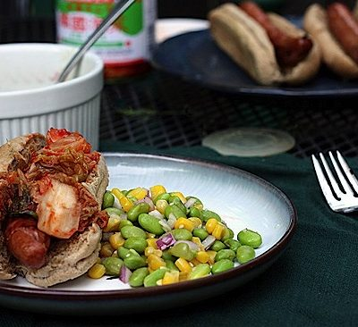 Kimchee Hot Dogs with Edamame and Corn Salad