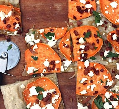 Sweet Potato Flatbread with Goat Cheese and Pancetta