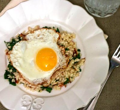 Bacon & Kale Risotto with a Fried Egg… For One