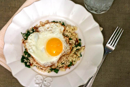 Bacon & Kale Risotto with a Fried Egg... For One 1