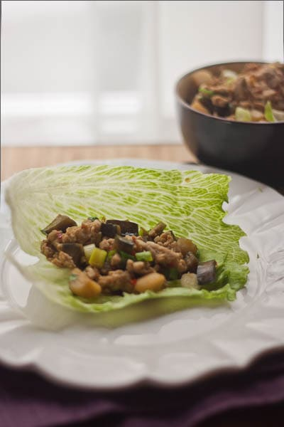 chicken and eggplant lettuce wraps