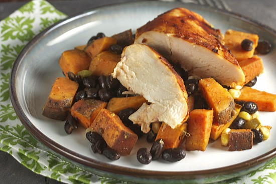 Roast Honey-Chipotle Chicken with Sweet Potatoes & Black Beans... for One 3
