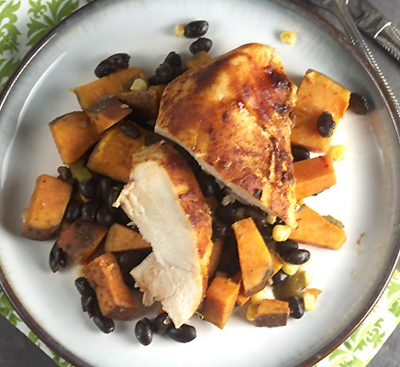 Roast Honey-Chipotle Chicken with Sweet Potatoes & Black Beans… for One