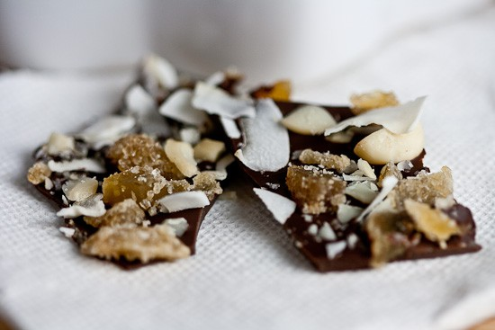 Ginger-Coconut-Dark Chocolate Bark - Healthy. Delicious.
