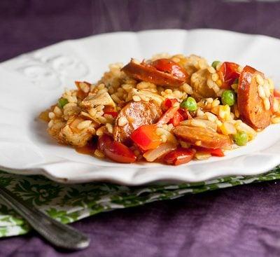30 Minute Chicken and Chorizo Paella