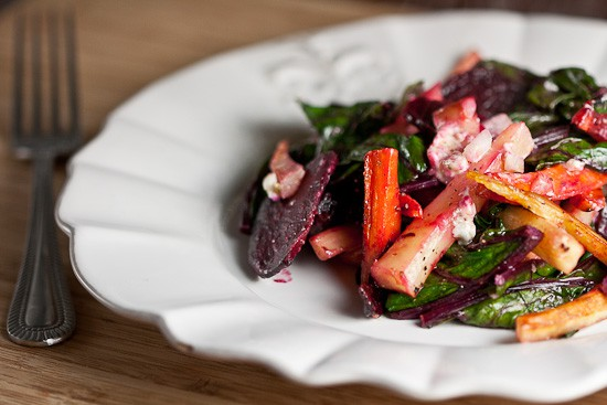 Roasted Root Vegetables with Blue Cheese Vinaigrette 1