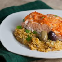 Romesco Roast Salmon over Pumpkin and Olive Grits