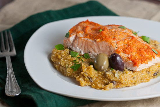 salmon with pumpkin and olive grits-2